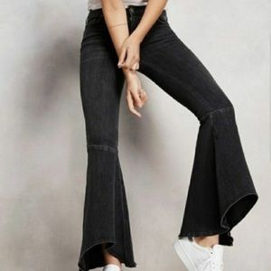 Free People Black High Waist Bell Bottom Jeans